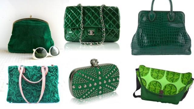Emerald green bags