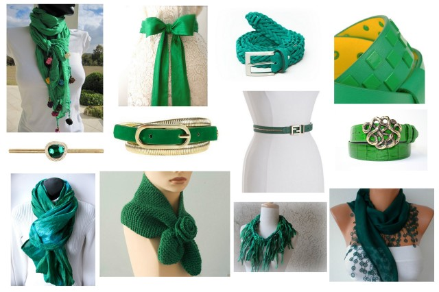 Emerald green belts/scarves