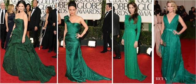 celebrities in emerald green
