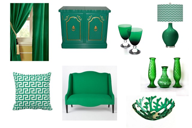 Emerald green home decor