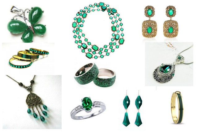 Emerald green jewellery