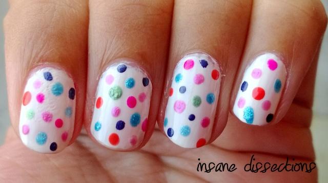 colorful polka dots nail art
