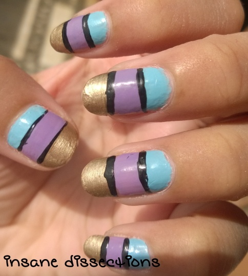 3 color colorblock nail art