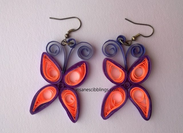 butterfly quilled earrings