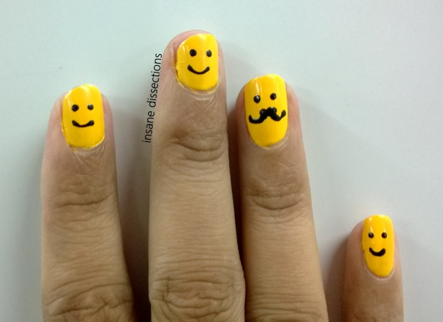 moustache smiley nails