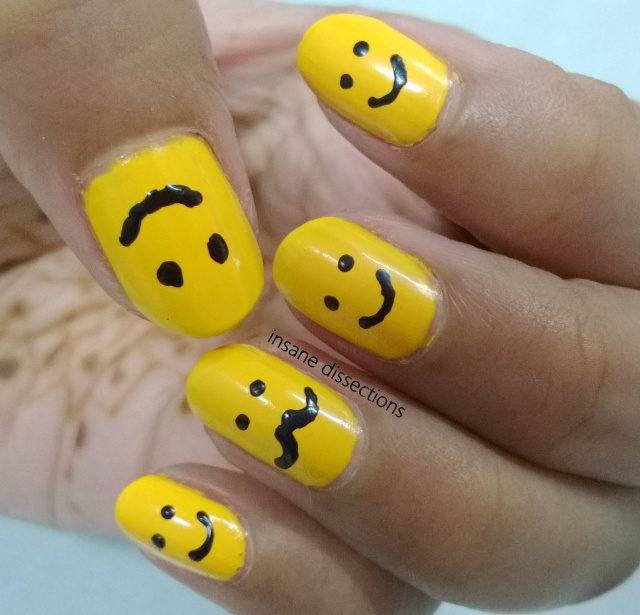 smiley nail art