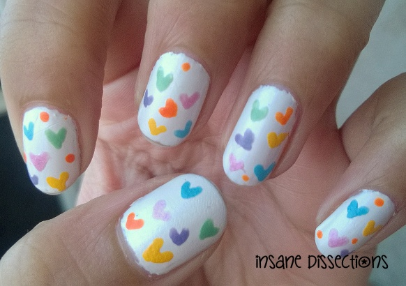 colorful hearts nail art