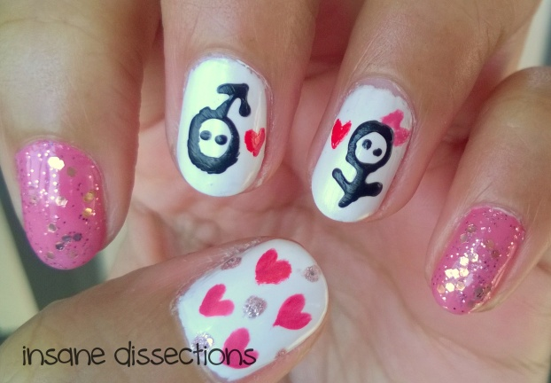girl boy love nail art