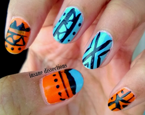 bright tribal nail art
