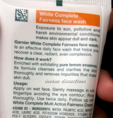 garnier white complete face wash price