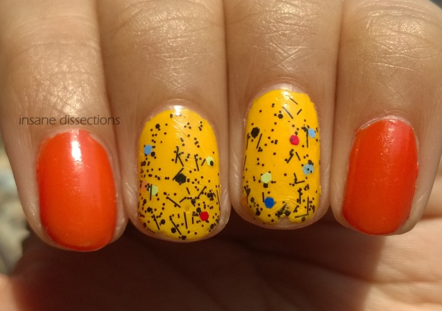yellow confetti nail art