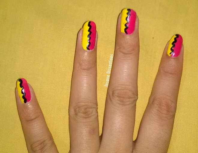 pink yellow nail art