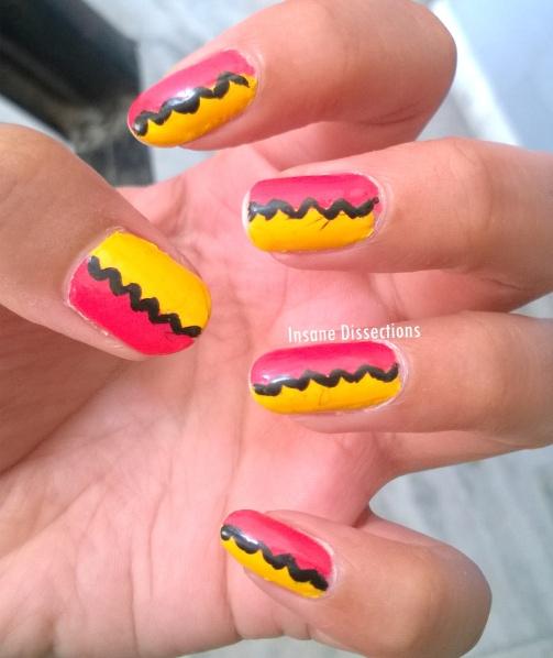 zig zag pink nails