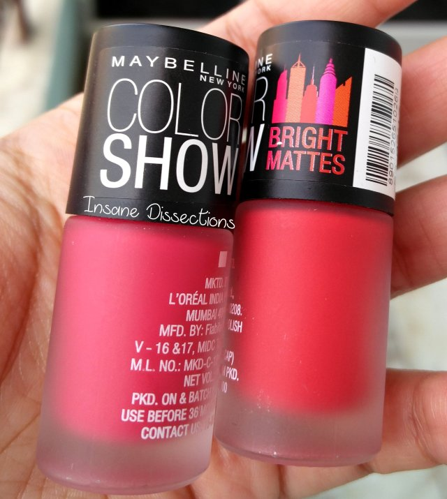 Maybelline Colorshow Bright Matte Nailpolish Lively Rose Swatch
