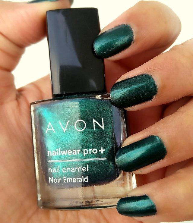Avon Nailwear Pro Nail Enamel Noir Emerald Review Swatch